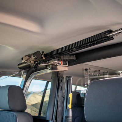 overhead partition mounted 1082 gun rack with ar15