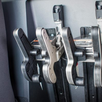 Dual Blac-Rac 1082 firearm rack are mounted in a law enforcement vehicle.