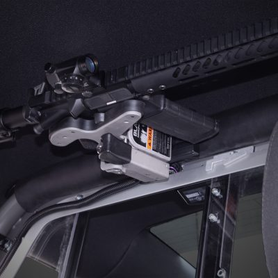 dodge charger police cruiser with 1082 gun rack mounted overhead with ar15